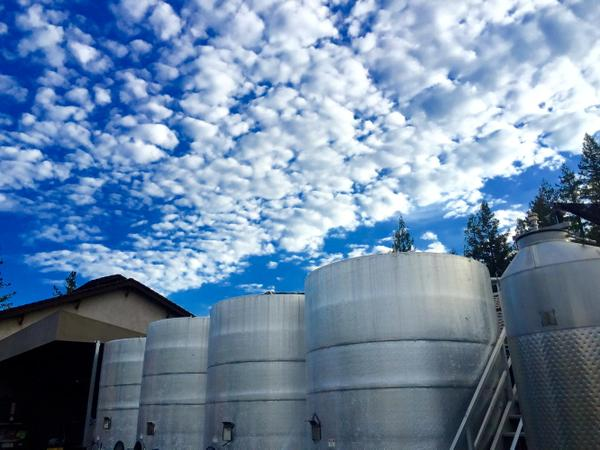 Clean tanks waiting for fresh juice under a typical Napa sky