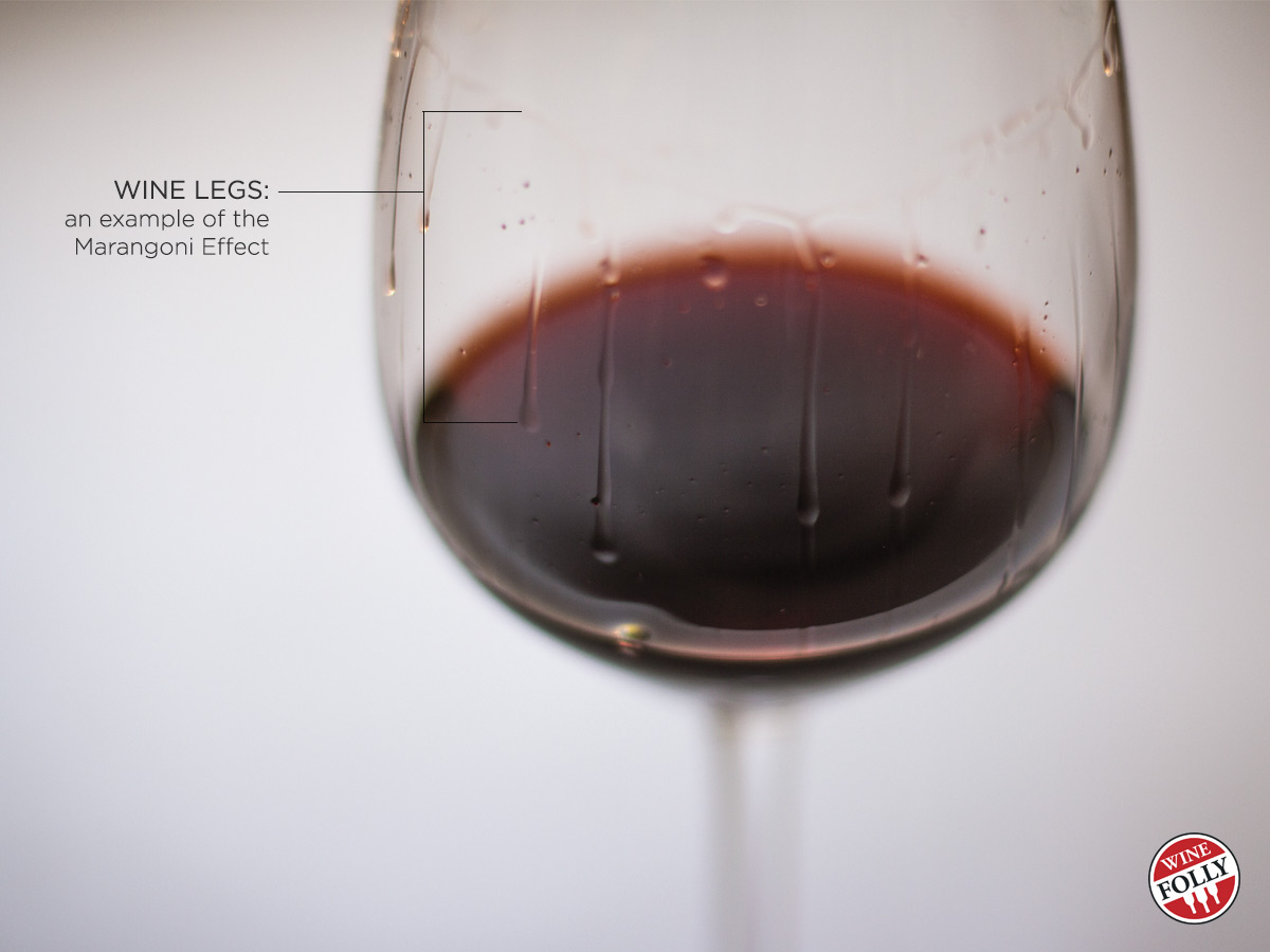 "The ""legs"" on a wine glass offer insight into the alcohol content. Via Wine Folly"