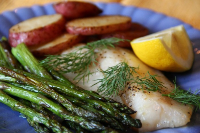 Quick-Roast-Fish-Asparagus-and-Potatoes-with-Lemon-Caper-Drizzle-e1319207908400