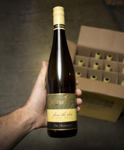 This Dr Hermann Riesling From the Slate 2012 we offered is lightly sweet Riesling of lip-smacking deliciousness, with pure, clean aromas and flavors of tart pineapple, crushed rocks, honeysuckle, white flowers and lemons.