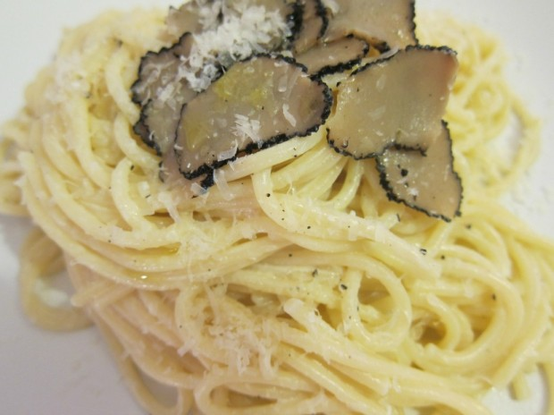Simple pasta with decadent truffles makes for a perfect pairing. Photo via