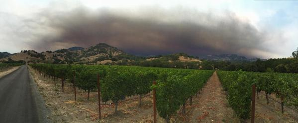 Smoke from the Valley fire sits above the northern peaks.