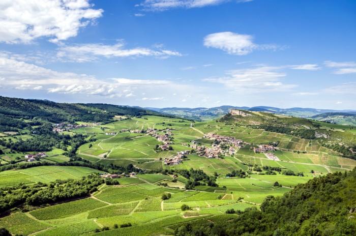 Old village of Vergisson with vineyards, Burgundy, France