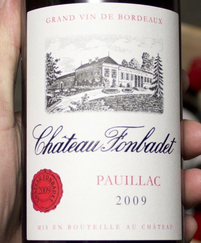 Chateau Fonbadet Pauillac 2009. Black currants, juniper, blueberry extract, stones and sweet crushed herbs, with a dash of the pencil lead and cigar box spice...the texture is full and round, with a touch of masculine grip, and a long spicy finish.
