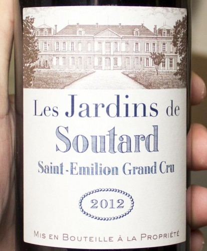 Les Jardins de Soutard St Emilion Grand Cru 2012. Spicy, perfumey red fruits explode out at you -- cranberry juice, pomegranate, fresh plums and red currant jam.