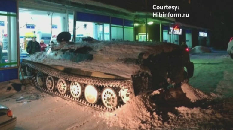 Bored Russian Guy Steals Tank, Smashes Into Liquor Store For A Bottle of Red