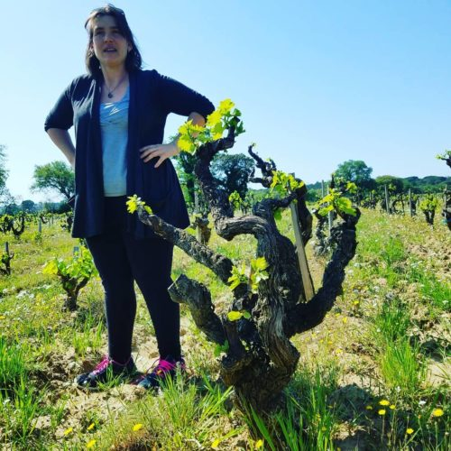Nathalie Reynaud, of L'Abbe Dine, stands next to an old vine Grenache in one of her vineyards.