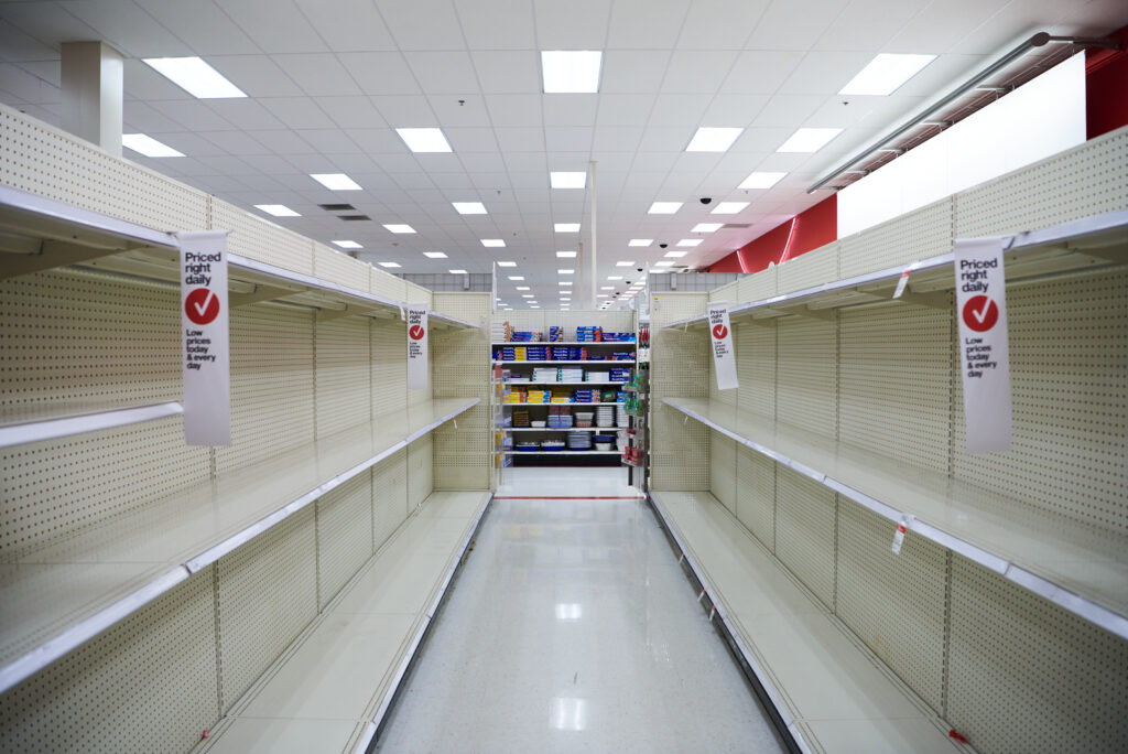 empty toilet paper aisle at the supermarket